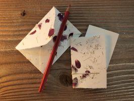 Mini Kärtchen und Kuvert Rosen und Gräser